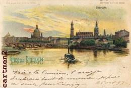 GRUSS AUS DRESDEN METEOR ECLAIR LUMINEUSE SYSTEME HOLD-TO-LIGHT DIE-CUT CONTRE LA LUMIERE LITHOGRAPHIE DEUTSCHLAND - Dresden