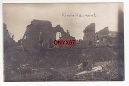 Carte Postale Photo Militaire Allemand HAUMONT (Meuse) Kirche Eglise En Ruine Avec Soldat Guerre 14/18 Krieg - France