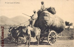 A CART LOAD OF COTTON ATTELAGE BUFFLE BOEUF COTON BOMBAY CLIFTON METIER INDE INDIA - India
