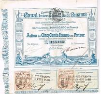 Action Ancienne - Compagnie Universelle Du Canal Interocéanique De Panama - Titre De 1880 - Déco - Transports