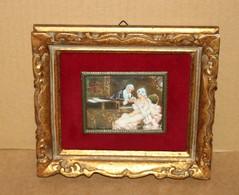 Petite Peinture Miniature Encadrée - Jolie Scène Galante Signée SARNA - Autres Collections