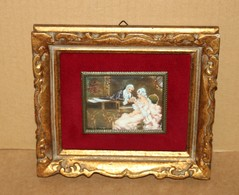 Petite Peinture Miniature Encadrée - Jolie Scène Galante Signée SARNA - Altre Collezioni