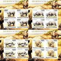 IMPERFORATED. BURUNDI 2011. RHINOCEROSES. 4 SHEETS. MNH. - Rinocerontes
