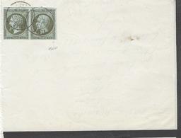 1862- Grand Format ( Demi-lettre ) Affr. Super Paire N° 11 Oblit. Cad T 15 De LILLE ( Nord ) - Marcophilie (Lettres)