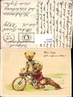 580137,Künstler AK G. Pahl Humor Bären Rad Fahrrad Feldpost Holzhausen - Humor