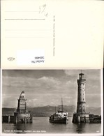 580480,Foto Ak Leuchtturm Lindau Bodensee Ausfahrt A. D. Hafen Löwendenkmal Schiff Da - Leuchttürme