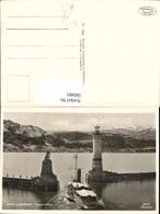 580481,Foto Ak Leuchtturm Lindau Bodensee Hafenausfahrt Löwendenkmal Schiff Dampfer - Leuchttürme