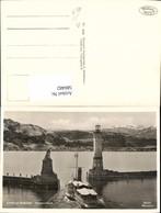 580482,Foto Ak Leuchtturm Lindau Bodensee Hafenausfahrt Löwendenkmal Schiff Dampfer - Leuchttürme