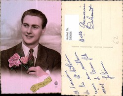 580836,Mann Portrait Rosen Blumen Bonne Fete - Männer