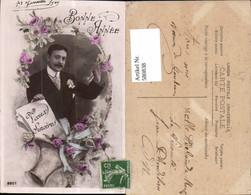 580838,Fotomontage Mann Portrait Bonne Annee Voeux Sinceres Korb Blumen Rosen - Männer