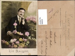 580839,Mann Portrait Korb Rosen Blumen Un Baiser - Männer