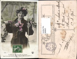 580863,Frau M. Hut Angel Fischen Blumen La Femme Cocher Emanzipation Pub Felix Bonnet - Frauen