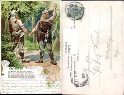 579870,Litho Germanenzug Text Germanen Handschlag Germanenkult - Märchen, Sagen & Legenden