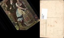 579886,Rauchen Paar I. Tracht Pfeife Fass Spruch - Ansichtskarten