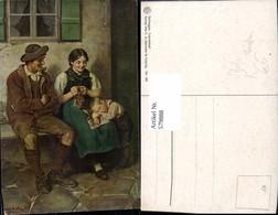 579888,Künstler Ak Defregger Feierabend Mann Pfeife Rauchen Frau Stricken Handarbeit - Ansichtskarten