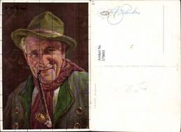 579891,Künstler Ak Vather Gut Gelaunt Mann Hut Pfeife Rauchen - Ansichtskarten