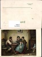 579899,Künstler Ak R. Epp Zwischen Zwei Feuern Männer Pfeife Rauchen Frau Stricken Ha - Ansichtskarten