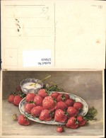 579919,Künstler Ak Erdbeeren Früchte M. Schale Sahne Stillleben Essen - Küchenrezepte