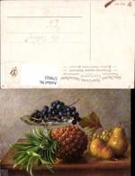 579922,Künstler Ak M. Billing Ananas Birnen Weintrauben Stillleben Essen - Küchenrezepte