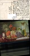 579929,Künstler Ak Ananas Weintrauben Birnen Karaffe Wein Stillleben Essen - Küchenrezepte