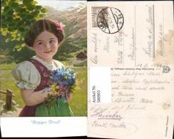 580903,Künstler Ak Herziges Dirndl Mädchen Kind I. Tracht Blumenstrauß Haarschleife - Kinder