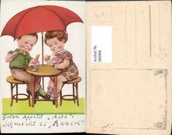 580906,Künstler Ak Kinder Essen Eis Unter Schirm Humor Pub EAS 2367 - Kinder