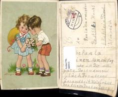 580913,Künstler Ak Kinder Bub Junge Mädchen Hut Blumen Blumenstrauß Pub EAS - Kinder
