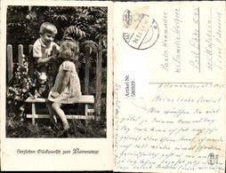 580929,Kinder Bub Junge Mädchen M. Puppe Auf Bank Gartenzaun Namenstag - Kinder