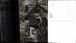 580963,Künstler Ak Beim Kammerfensterln Fensterln Erotik Kuss Leiter Brauchtum Brauch - Ansichtskarten