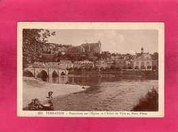 24 Dordogne, Terrasson, Panorama Sur L'Eglise Et L'Hôtel De Ville Au Pont Vieux, Rare Animée, Pêcheurs, 1947 - Autres Communes