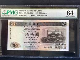 MACAU, BANK OF CHINA 1997 MACAU UNIVERSITY ISSUE 50 PATACAS -  PMG 64 - Macao