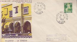 Enveloppe  FDC 1er  Jour  ALGERIE   Cour  Mauresque  Musée  Du  BARDO  ALGER   1957 - Algérie (1924-1962)