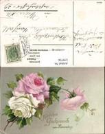 579756,Präge Lithographie Namenstag Rosen Blumen - Feiern & Feste
