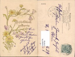 579758,Präge Lithographie Namenstag Jugendstil Art Nouveau Blumen - Feiern & Feste