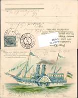 579762,Präge Lithographie Blumenschiff Blumendampfer Dampfer Vergissmeinnicht - Ansichtskarten
