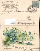 579763,Präge Lithographie Vergissmeinnicht Blumen Spaten - Ansichtskarten