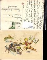 580418,Künstler Ak Vermenschlichte Tiere Bären Fechten Humor Buch Lesen - Ansichtskarten
