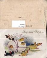 580425,Künstler Ak Enten Ziehen Eierkutsche Katze Hund Ostern Vermenschlichte Tiere H - Ansichtskarten