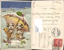 580428,Litho Hunde I. Schnee Horn Blasen Schirm Laterne Vermenschlichte Tiere - Ansichtskarten