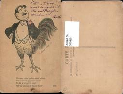 580429,Künstler Ak Xavier Sager Hahn Huhn M. Männerkopf Oberkörper Tenor Vermenschlic - Ansichtskarten