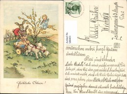 580431,Künstler Ak Elfriede Türr Hasen Kutsche Engel Ostern Vermenschlichte Tiere - Ansichtskarten
