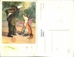 580433,Künstler Ak Bkycho H. Ctporahoba Hund Trinkt A. Flasche Fuchs Vermenschlichte - Ansichtskarten