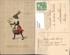 580434,Präge Litho Hase I. Kleid Korb M. Eier Blumen Ostern Vermenschlichte Tiere - Ansichtskarten