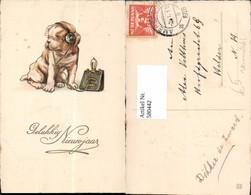 580442,Vermenschlichte Tiere Hund Hört Musik Kopfhörer Neujahr - Ansichtskarten