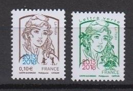 2018-N°5234/5235** MARIANNE DE CIAPPA ET KAWENA SURCHARGE 2013/2018 DU SALON PARIS PHILEX 2018 - France