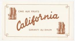 Buvard 21 X 11.5  CALIFORNIA Cake Au Fruit Et Au Rhum - Bank & Insurance