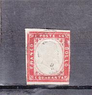 """ITALIE  1855-1861    """"  Sardaigne  """"    Lot De  3 Timbres Obliteres   A Relief  5c Vert 40c Rouge Et 1c Noir - Sardaigne"""