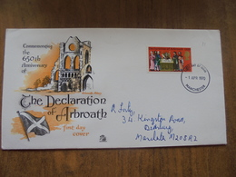 S020: FDC:THE DECLARATION OF ARBROATH 1320 - 650th Anniversary. 5d Stamp - Arbroath Abbey. 1 APR 1970 Manchester. - FDC