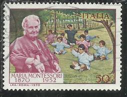 ITALIA REPUBBLICA ITALY REPUBLIC 1970 MARIA MONTESSORI CENTENARIO NASCITA BIRTH CENTENARY LIRE 50 USATO USED OBLITERE' - 1946-.. Republiek