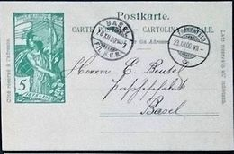 "Schweiz Suisse 1900: PK ""25 Jahre UPU"" CP ""Jubilé UPU"" 5c Grün Vert Mit O FRAUENFELD 28.XII.00 Nach BASEL - U.P.U."